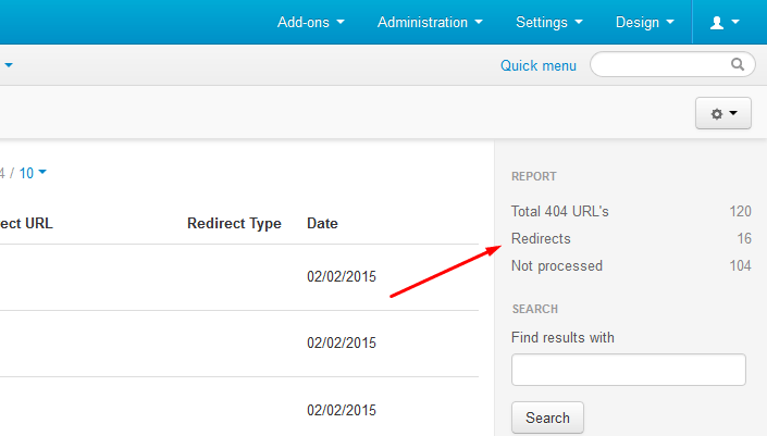 Smart 404 Not Found URL's Fixer is offering also a small statistics to keep you more organized