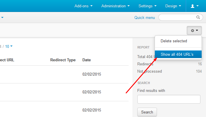 Add-on hides the 404 URL's already redirected because you don't need to see them once you already processed and everything works fine, but if you still need to review them you need to click on Show all 404 URL,s as image above