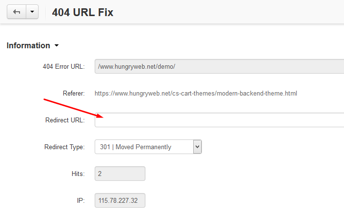 To add a new redirect URL you just need to click on the 404 URL and to input the 301 redirect URL
