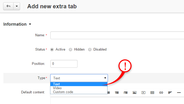 Add-on allow you to add 3 types of tabs: Text, Video and Custom code