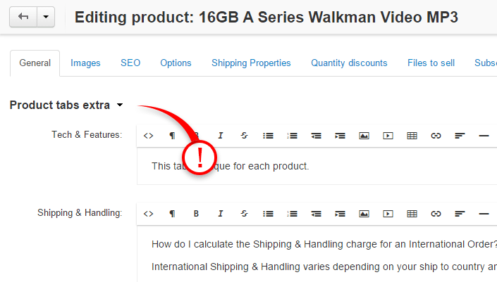 Tabs content can be found and edited from product update page under description tab.
