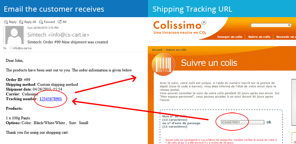 Email the customer receives | Shipping Tracking URL